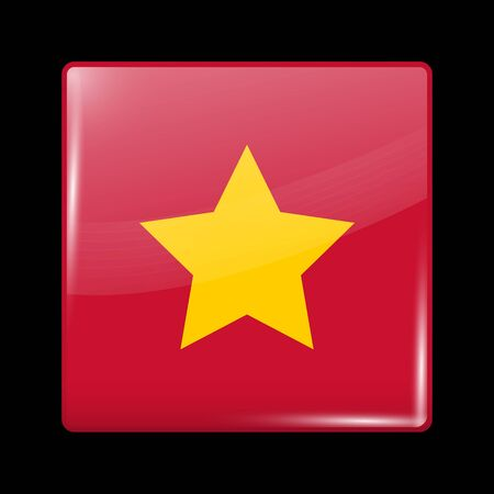 socialist: Vietnam Variant Flag. Glassy Icon Square Shape. This is File from the Collection Flags of Asia Illustration