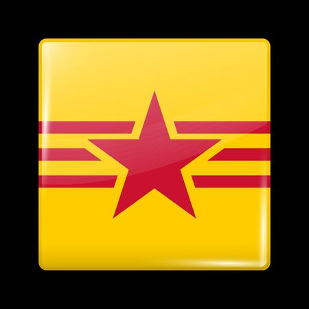 variant: Vietnam Variant Flag. Glassy Icon Square Shape. This is File from the Collection Flags of Asia Illustration