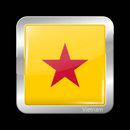 variant: Vietnam Variant Flag. Metallic Icon Square Shape. This is File from the Collection Flags of Asia