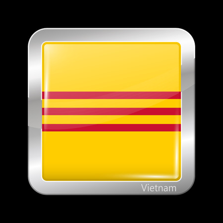 residential district: Flag of South Vietnam. Metallic Icon Square Shape. This is File from the Collection Flags of Asia