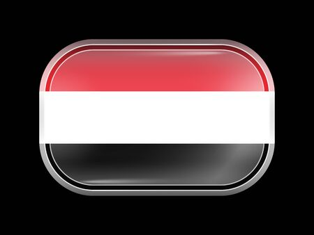 matted: Flag of Yemen. Rectangular Shape with Rounded Corners. This Flag is One of a Series of Glass Buttons