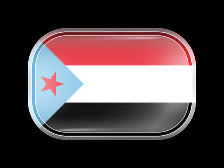 matted: Flag of South Yemen. Rectangular Shape with Rounded Corners. This Flag is One of a Series of Glass Buttons