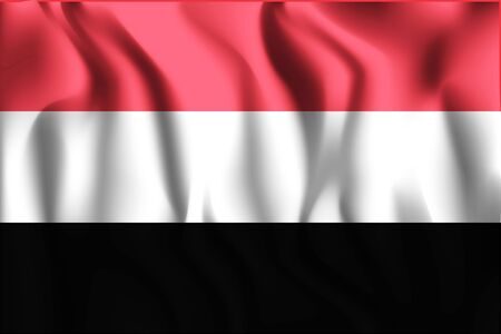 residential district: Flag of Yemen. Rectangular Shape Icon with Wavy Effect