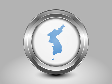unification: Flag of United Korea. Metal Round Icons. This is File from the Collection Asian Flags