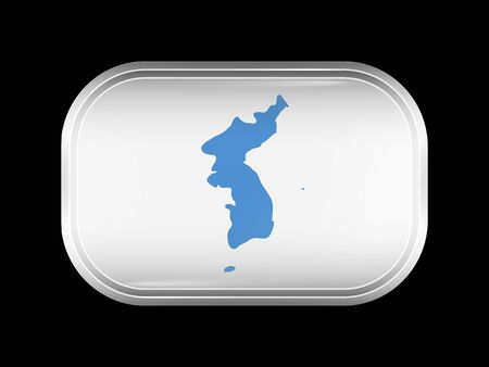 Flag of United Korea. Rectangular Shape with Rounded Corners. This Flag is One of a Series of Glass Buttons