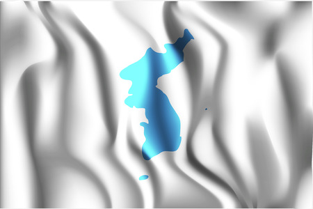 unification: Flag of United Korea. Rectangular Shape Icon with Wavy Effect