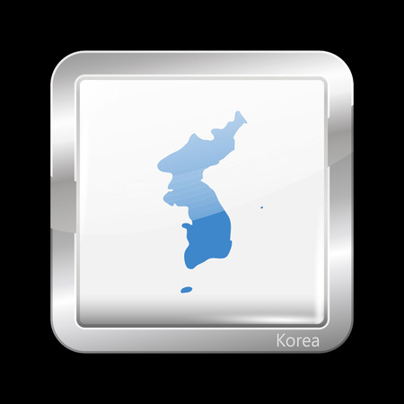 unification: Flag of United Korea. Metallic Icon Square Shape. This is File from the Collection Flags of Asia Illustration