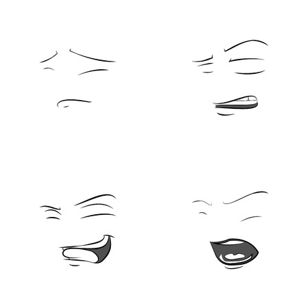 cheesy: Funny Faces. Showing Emotions. Set of 4 Facial Expressions Illustration