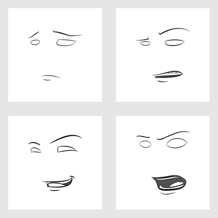 sneering: Funny Faces. Showing Emotions. Set of 4 Facial Expressions Illustration