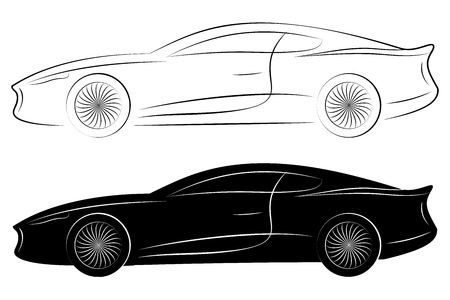black pictogram: Outlines of Sports Cars. Vector Isolated On White Background
