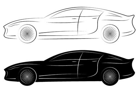 Silhouette véhicule Concept. Vector voiture Outlines isolé sur fond blanc