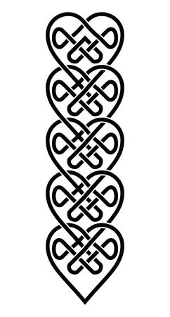 Weaved Celtic Style Hearts Ornament. Pattern Knots in White