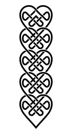 Geweven Keltische Stijl Harten Ornament. Patroon Knopen in Wit