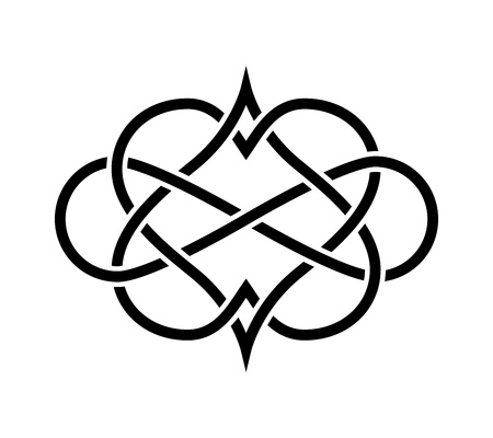 celtic background: Intertwined Hearts Isolated. Forever Love Tatoo Illustration