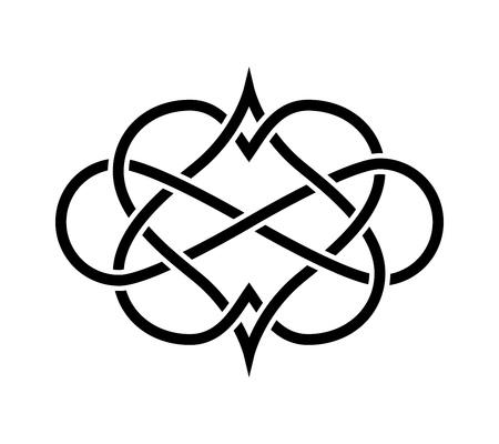 keltische muster: Verflochtene Herzen isoliert. Forever Love Tatoo