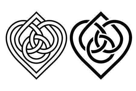 Entrelazado corazón de nudo celta. Dos variantes Ilustración de vector