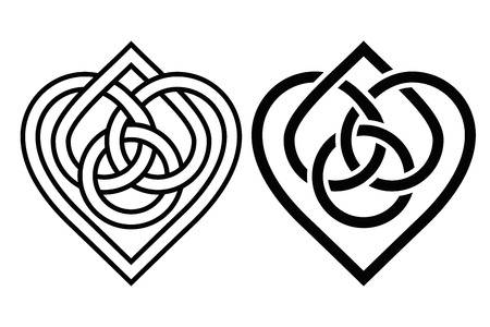 irish symbols: Intertwined Heart in Celtic Knot. Two Variants Illustration