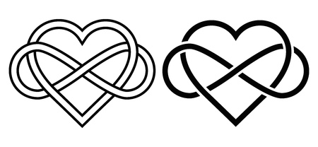 black outline: Intertwined Heart with The Sign of Infinity. Love forever Illustration