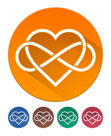 intertwined: Hearts Icon Flat. Intertwined Heart with The Sign of Infinity. 5 Isolated Items