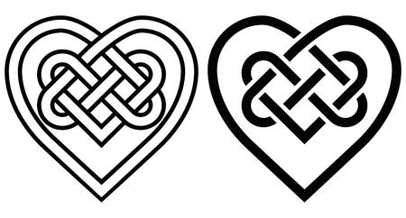Entrelazado corazón de nudo celta. Dos variantes