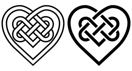 Intertwined Heart in Celtic Knot. Two Variants Illustration