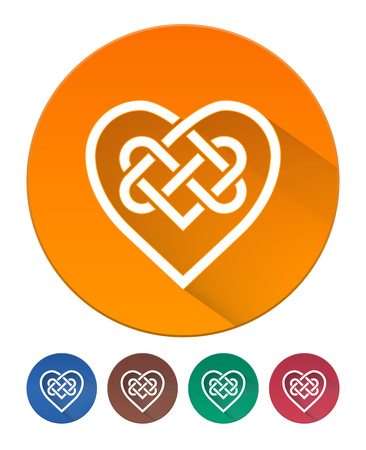 intertwined: Hearts Icon Flat. Intertwined Heart in Celtic Knot. 5 Isolated Items