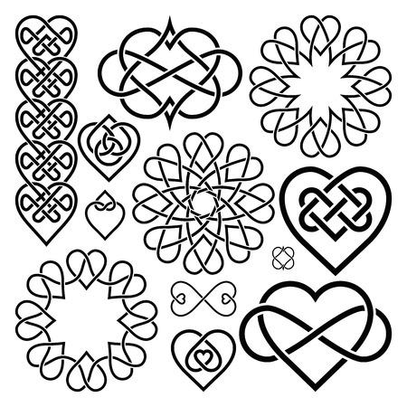 Establecer corazones entrelazados en el nudo celta. doce artículos Ilustración de vector