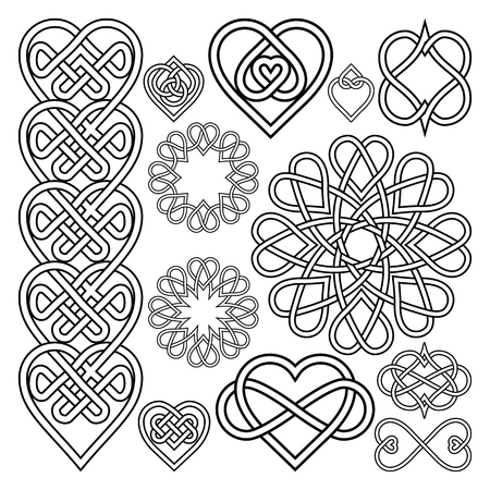 love silhouette: Set Hearts Intertwined in Celtic Knot. Twelve Items