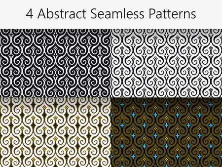 darbuka: Set of 4 Abstract Vintage Seamless Patterns. Every Pattern is on a Separate Layer