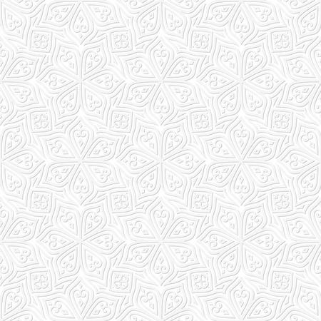 square shape: Batik Seamless Pattern. White Background. Square Shape