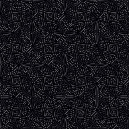 oriental rug: Batik Seamless Pattern. Black Background. Square Shape