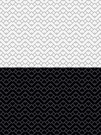 Two Abstract Seamless Patterns. Black and White Backgrounds. Every Pattern is on a Separate Layer