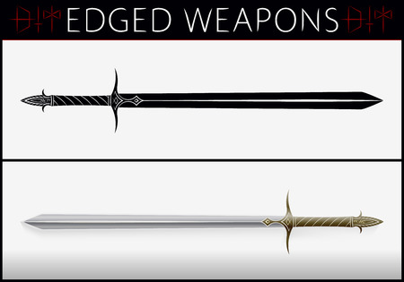 weapons: Sword. Medieval Weapons. Collection of Edged Weapons. Silhouette and Colored