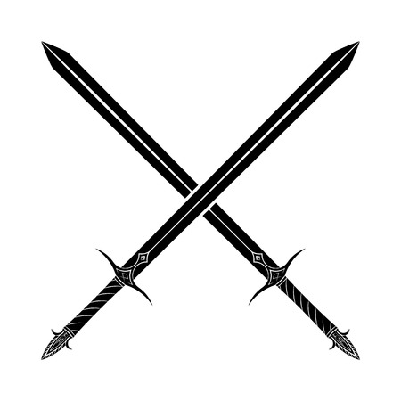 edged: Crossed Swords Silhouette on White Background. Medieval Weapons. Collection of Edged Weapons Illustration