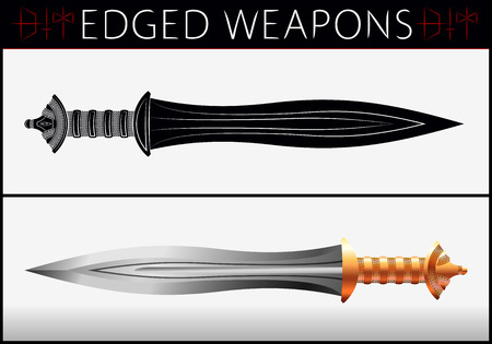 edged: Sword. Gladius. Medieval Weapons. Collection of Edged Weapons. Silhouette and Colored