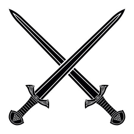 Two Crossed Gladius Sword Silhouette on White Background. Medieval Weapons. Collection of Edged Weapons