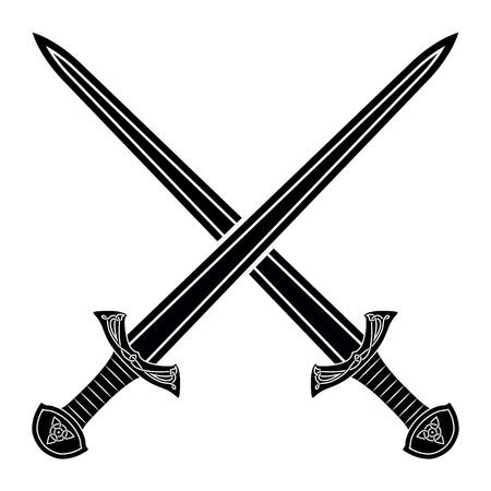 Twee Gekruiste Gladius Sword silhouet op witte achtergrond. Middeleeuwse wapens. Het verzamelen van scherpe wapens