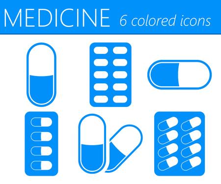 aspirin: Medical Pills Color Medical Icons Set Illustration
