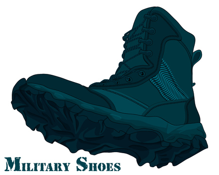 Cartoon Army Boot. Illustration Navy Boots Illustration