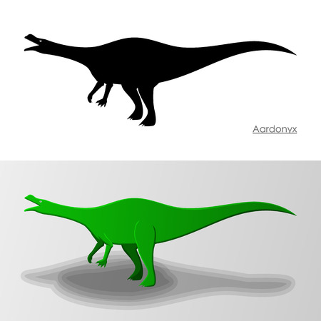bipedal: Aardonyx Dinosaur Illustration Silhouette and Cartoon Characters