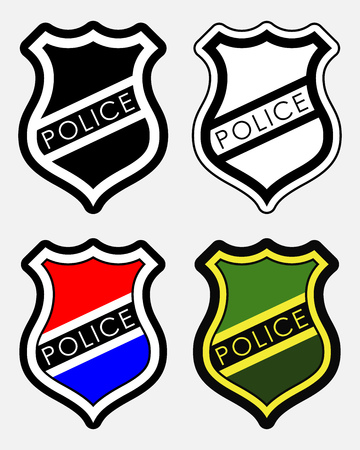 cockade: Police Badges Isolated Illustration on White Background. Set of Four Items
