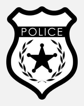 Police Badge Isolated Illustration on White Background Stock Illustratie