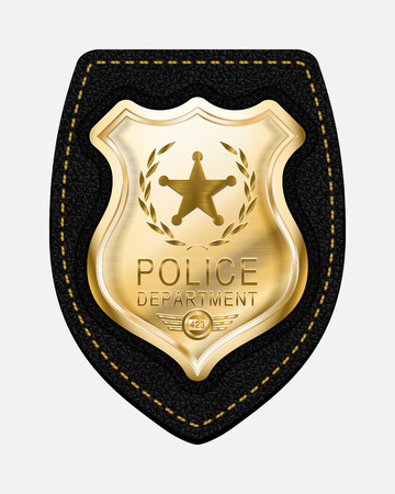 Placa de policía. La policía Badge realista del vector de oro colocado en el fondo de cuero Ilustración de vector