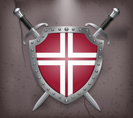 iron cross emblem: Two Crossed Swords that are Behind the Shield. The Shield has a Space for Lettering. Medieval Background Vector illustration