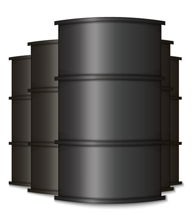 Metal Black Oil Barrels. Isolated Group on a White Background Illustration