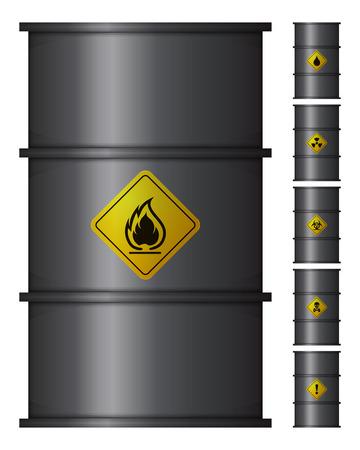 metal barrel: Metal Black Barrel Oil. Set of Six Vector Isolated Icons Illustration