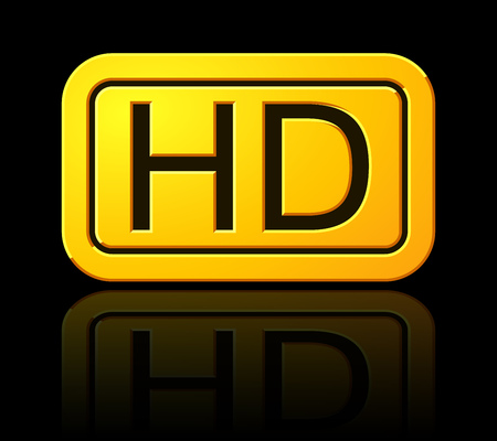 Yellow HD Label. Widescreen TV Sign Icon. 1080p Symbol