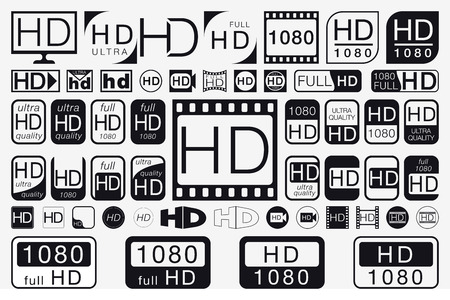 hdtv: Big Set HD Icons. HD Labels. 51 Black and White Signs Illustration