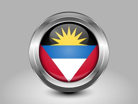 barbuda: Flag of Antigua and Barbuda. Metal and Glass Round Icon. This is File from the Collection North America Flags