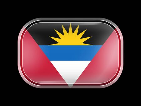 rounded edges: Flag of Antigua and Barbuda. Rectangular Shape with Rounded Corners. This Flag is One of a Series of Glass Flag Buttons Illustration